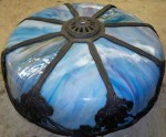 Stained Glass Lamp Shade Blue, antique curved panel lamps