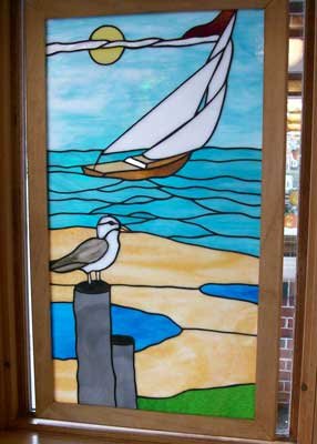Stained Glass Window Sailboat Seagull